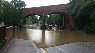 Flooding close to the Queen's Road Sainsbury's in Norwich.