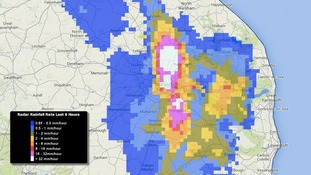 Rainfall radar over Norwich at 3pm on Sunday 20 July