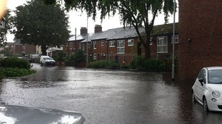 Flooding in Hall Road in Norwich.