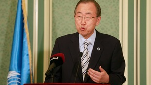 UN General Secretary Ban Ki-moon speaks at a conference condemning the Gaza conflict.