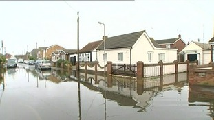 A flooded road in Canvey Island