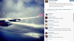 Tom Daley posted a picture of 'the fuel dump before landing' via his Instagram account