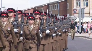 The Royal Anglian Regiment march through Corby.