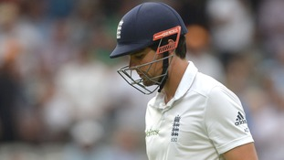 Alastair Cook trudges off the Lords pitch after losing his wicket.