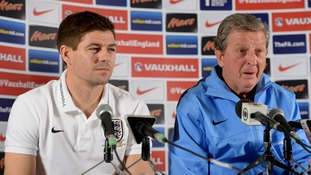 Steven Gerrard at a press conference before the World Cup with England manager Roy Hodgson.