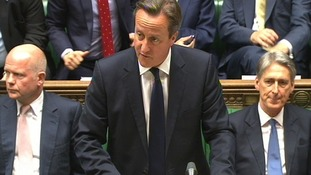 David Cameron addresses MPs in the House of Commons.