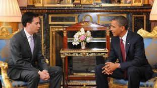 Ed Miliband talking to Barack Obama at Buckingham Palace in 2011.