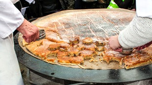 Cutting the world's largest Welsh cake