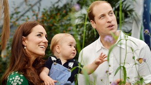 The young family were photographed at the Sensational Butterflies outdoor exhibition at London's Natural History Museum.