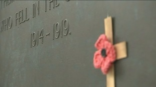 A cross adorns the cenotaph in Edinburgh.