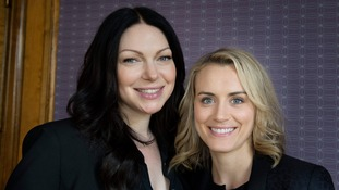 US actresses Laura Prepon and Taylor Schilling stars from Netflix series