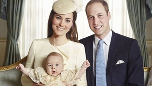 The Duke and Duchess of Cambridge with their three-month-old son Prince George. October 2013