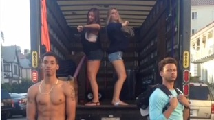 The vine star posted a video performing dance routines in unexpected areas.
