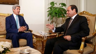 US Secretary of State John Kerry speaks with Egyptian President Abdel Fattah al-Sisi in Cairo.