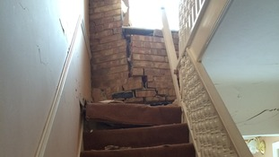 Wrecked staircase of the home in Harold Hill