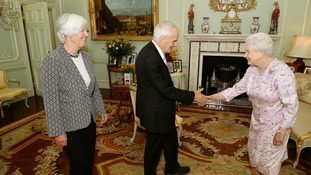 Composer Judith Weir (left), the new Master of the Queen's Music and Sir Peter Maxwell Davies, previous Master of the Queen's Music, during a private audience with the Queen.
