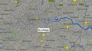 Plane with no callsign spotted over London