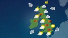Largely fine and warm with isolated showers in south