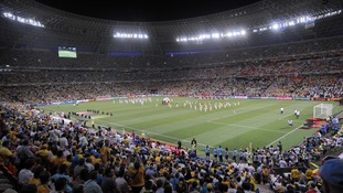 England played Ukraine at the Donbass Arena in Donetsk during Euro 2012.