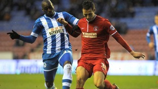 Harry Lennon in action against Wigan Athletic.