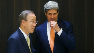 US Secretary of State John Kerry with UN Secretary General Ban Ki-moon.