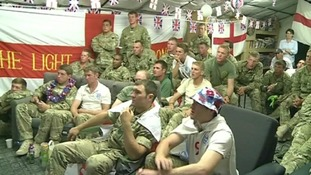 Light Dragoons celebrate England goal in Afghanistan