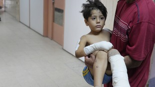 This young boy is being treated at Khan Yunis Hospital in Gaza.