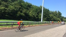 Sri Lankan Games cyclists on M74 spark police response