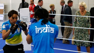 Camilla, Duchess of Cornwall, watches members of India's boxing team during a training session.