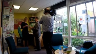 Filming in Sarah's office