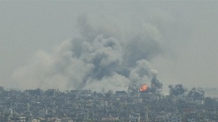 Further strikes by Israel littered the Gaza Strip skyline.