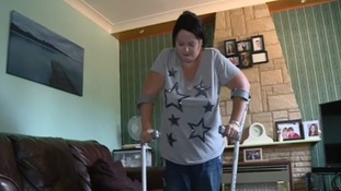 Yvette has to use crutches around the house, and a wheelchair when outside, as she is in danger of falling.
