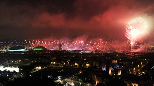 Fireworks erupt over the Celtic Park in Glasgow as the Commonwealth Games get underway.