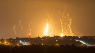 Flares light up the sky in Gaza where fighting is still raging after 16 days.