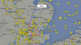 Flight heading over East Anglia