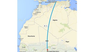 A map shows the expected flight path of the missing plane.