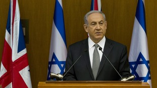 Israeli Prime Minister Benjamin Netanyahu, speaking alongside Foreign Secretary Philip Hammond.