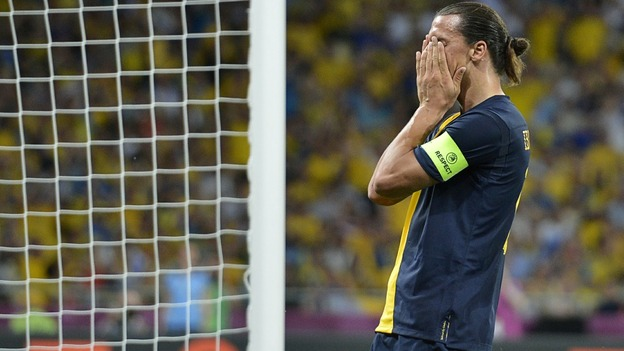 Swedish skipper Zlatan Ibrahimovic rues missed chances during the final stages in Kiev.