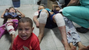 Children are lined up inside West Hospital, Beit Ahoun, in Gaza.