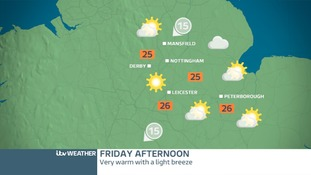 Weather map for the East Midlands on Friday