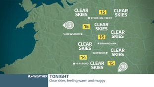 Weather map for the West Midlands on Thursday night