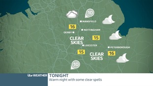 Weather map for the East Midlands on Thursday night