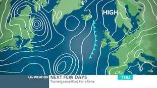Atlantic air pressure chart for Thursday