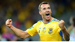Ukraine striker Andriy Shevchenko celebrates his second goal.
