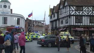 The crowded scene in Stratford-upon-Avon after the crash