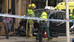 The VW Touran smashed into two shop including a busy coffee shop