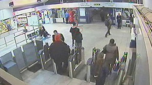 Jayden Parkinson and Ben Blakeley (circled in red) arriving at Didcot train station.
