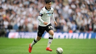 George Thorne in action for Derby at Wembley last season