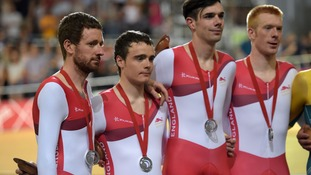 Sir Bradley Wiggins, Steven Burke, Andy Tennannt and Ed Clancy with their silver medals the Men's 4000m Team Pursuit Final.