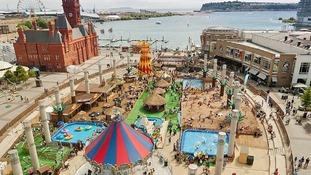 Aerial shot of Cardiff Bay's urban beach
